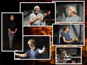 Collage van foto's tijdens het repetitieproces